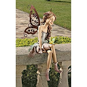 Design Toscano HF9326063 Fannie, the Fairy Sitting Statue: Set of Two
