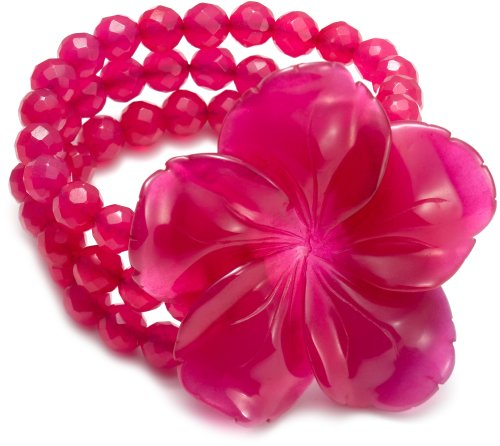 Lola Rose Faceted Flower Bracelet in Purple Jade