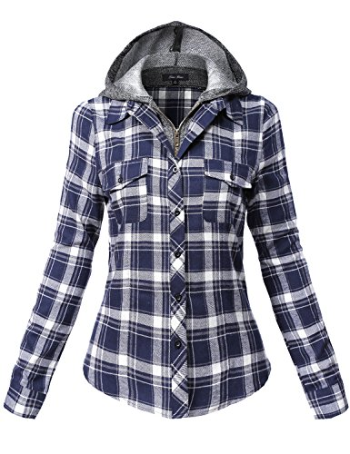 Undetachable Two Tone Terry Mixed Hoodie Plaid Shirts,137-navy_offwhite,Small