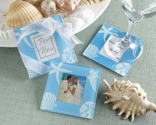 &quot;Four Seasons&quot; Glass Photo Coasters - Summer - Baby Shower Gifts &amp; Wedding Favors (Set of 12)