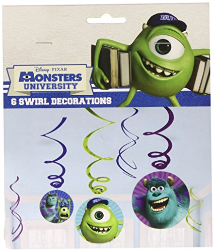 Monsters University Inc 6 Pack Party Swirl Decorations