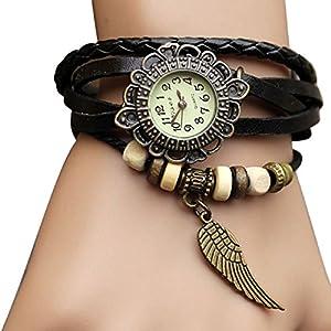 Sannsis(TM) 1PC Black Vintage Womens Leather Quartz Wing Beads Wrist Watches