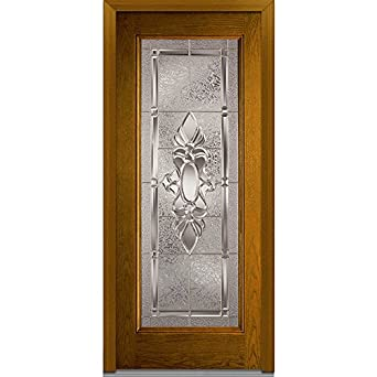 glass in swing entry door left hand oak prehung full lite 36 x 80