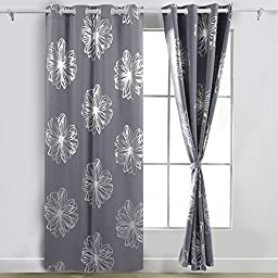 Deconovo Fashion Light Grey Flower Foil Printed Thermal Insulated Bedroom Grommet Blackout Curtains 52\