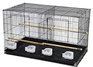 "Aviary Breeding Bird Finch Parakeet Finch Flight Cage 30"" x 18"" x 18"" Black With Divider"
