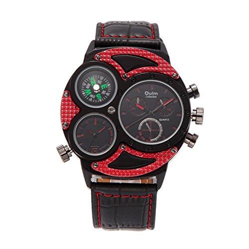 GL Business Leisure Multi fuso orario pelle Band orologio al quarzo, vita, Rosso