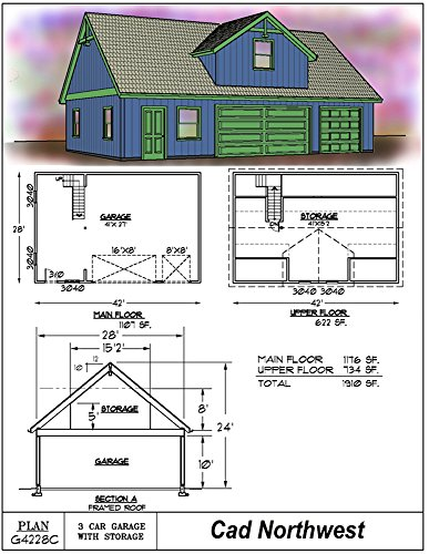 three car garage plan single story with loft 42 39 x 28 On garage plans with office space