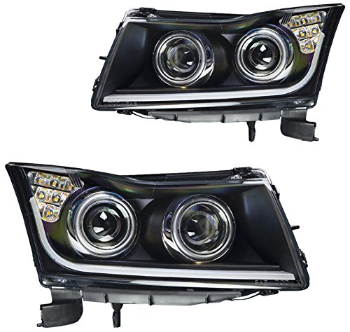 Winjet WJ10-0324-04 Black Housing/Clear Lens Projector Headlight with LED Illuminating Bar DRL (Chevy Cruze) (Chevy Cruze Performance Parts compare prices)