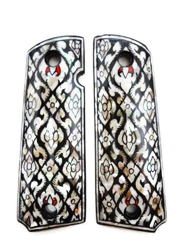 Mother of Pearl Inlay 1911 Grips Fit with Colt S&W Kimber Springfield Thai painting #02 (1911 Bushing Compensator compare prices)