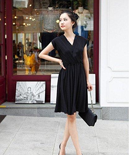 WanderKids かわいい お宮参り おでかけ 授乳服 Aライン ワンピース きれいめ フォーマル S M L XL 3カラー (M, ブラック)