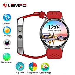 LEMFO KW88 Android 5.1 OS 3G Smart Watch Cell Phone 1.39 inch 400*400 screen MTK6580 Quad Core support 2.0MP Camera Bluetooth SIM Card WiFi GPS Heart Rate Monitor (Gray+Red)