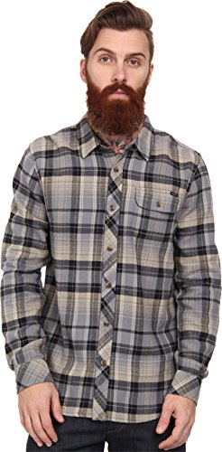 O'Neill Mens Lindamar Button Up Long-Sleeve Shirt, Grey, 2X-Large
