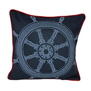 Room Service Nautical Collection Nautical Boat Wheel Pillow, 18-inch x 18-inch, Navy Blue/Red
