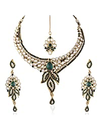 I Jewels Traditional Gold Plated Kundan Necklace Set With Maang Tikka For Women(Green)(K7050G)