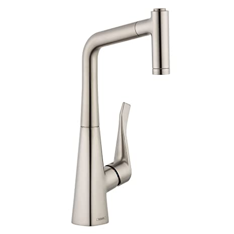 Hansgrohe 04508800 Metris Prep Kitchen Faucet with Pull-Out, Steel Optik
