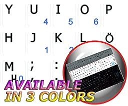 SWEDISH / FINNISH NOTEBOOK NON-TRANSPARENT KEYBOARD DECALS BLACK, WHITE OR SILVER BACKGROUND (White Background)