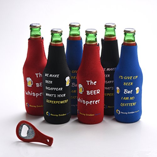 Thermosuit Beer Bottle Coolers - Set of 6 Multi Color Zipper Coolies with Funny Quotes - Extra Thick Neoprene - Fully stitched, Non-Glued Base - Bonus Bottle Opener - Trendy & Awesome Birthday Gift (Gun Beer Cooler compare prices)