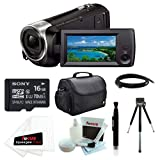 Sony HDR-CX440/B (HDRCX440 HDRCX440B) Full HD 60pVideo Recording Handycam Camcorder with Sony 16GB SDHC Memory Card + Camera Case + 8