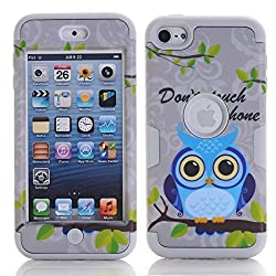 iPod Touch 6 Cover Case, SAVYOU iPod 6 Gray Owl Pattern 3 in 1 Shield Hybrid Series Hard Case Cover with Soft Silicone Inner Case for Apple iPod Touch 6th Generation (Gray)