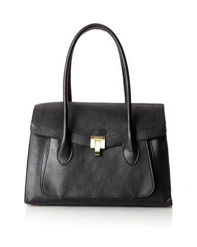 London Fog Women's Wesley Satchel Top Handle Bag  [Black]