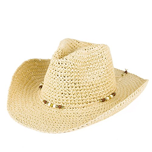 Unisex Cowboy Hat Plain Woven With Beaded Rope Band - Natural Straw (56/M)