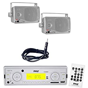 """Pyle Marine Radio Receiver, Speaker and Cable Package - PLMR88W AM/FM-MPX IN-Dash Marine MP3 Player/USB, MMC & SD Memory Card Function - PLMR24S 3.5'' 200 Watt 3-Way Water Proof Mini Box Speaker System (Silver Color) - PLMRNT1 22"""" Weather Resistant Radio AM/FM Marine Wire Antenna"""