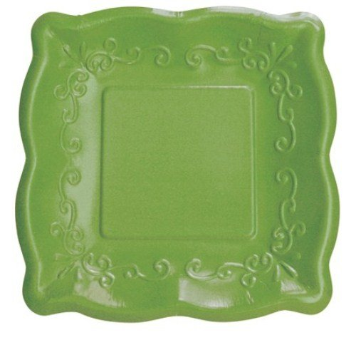 "Elise Scalloped Embossed 7"" Square Premium Paper Plates, 8-Count, Verdi"