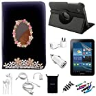 AceNear Accessory Bundle For ASUS Transformer Pad TF300 10.1-Inch Tablet - New 360 Degress Rotating Stand 3D Luxury Crystal Bling Leather Folio Case Cover , Headset Dust Plug Capacitive Stylus, Screen Protector, USB Cable, Charger, Earphone, bag, Car Charger Adapter - flower mirror black leather