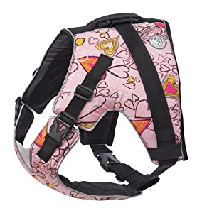 Doggles Pet Dog XS Size Swim Vest Pink Hearts