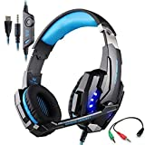 Gaming Headset for PlayStation 4 Tablet PC Mobilephones iPhone 6/6s/6 plus/5s/5c/5, KOTION EACH G9000 3.5mm Over-Ear Headphone with Microphone Volume Control LED Light - Black + Blue
