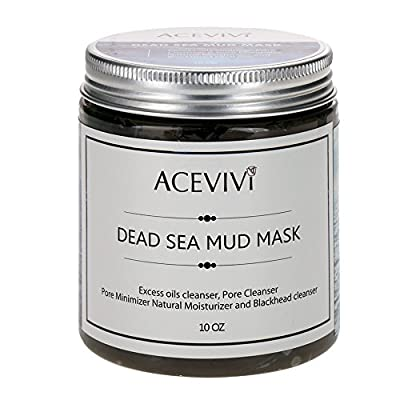 ACEVIVI Natural Dead Sea Mud Facial Mask - Organic Mud Mask Offers Gentle Facial Exfoliator, Natural Moisturizer and Deep Cleansing to Relieves Acne, Acne Scars, Pimples Blackheads - 10 OZ
