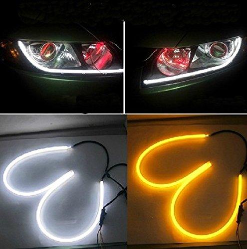 {Factory Direct Sale} A Pair 2X60Cm White + Amber Tube Switchback Headlight Led Strip Drl Run Light For Audi Style Dc 12V Soft Elasticity