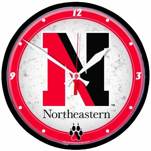 NCAA Northeastern Huskies Round Clock 12 inch