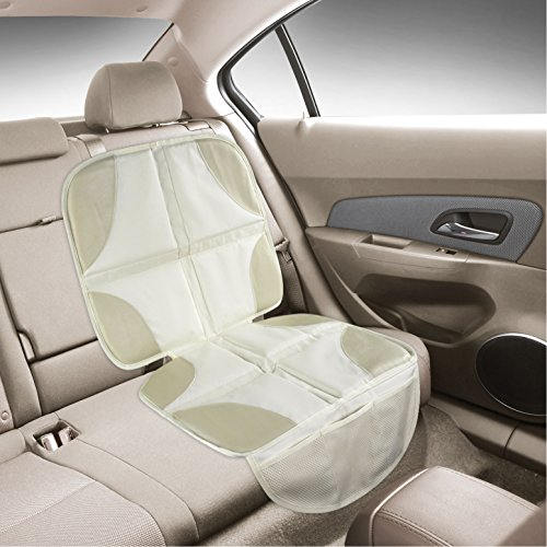 luxury seat protector mat to use under your child 39 s car seat light color to blend with tan. Black Bedroom Furniture Sets. Home Design Ideas