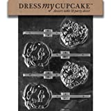 Dress My Cupcake DMCC031 Chocolate Candy Mold Mr. and Mrs. Claus Heads Christmas