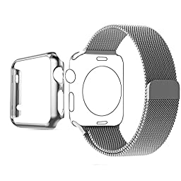 Apple Watch Band, Biaoge Steel Milanese Loop Replacement Wrist Band with Plated Case for Apple Watch (Silver 38mm)