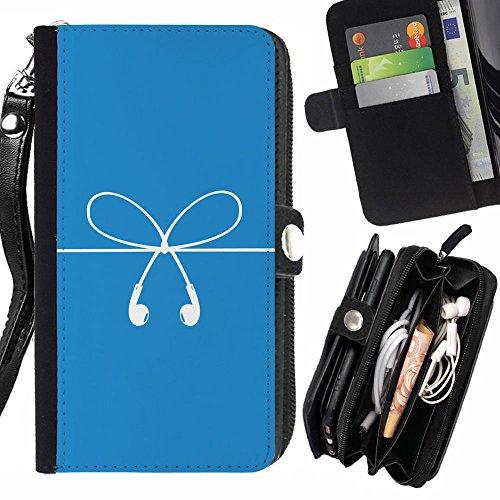 Momo Phone Case // Nero Flip Case Cover Custodia in pelle Protettiva per HTC One E8 / Bow Strings Bianco Blu spine di orecchio Art /