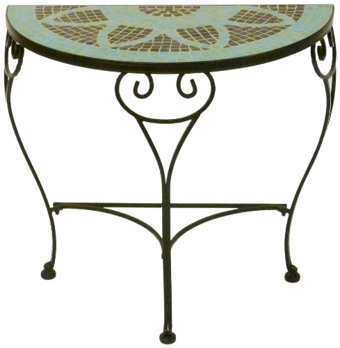 Alfresco Home 28-7521 Le Mans 32-Inch by 16-Inch Half Moon Table, Mosaic Pattern