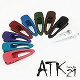 [ATK21] (Lサイズ) オープン オーバル マットカラー クリップピン ダッカール シンプル 無地 前髪 艶消し レディース ヘアアクセサリー 大人 (ブラック)