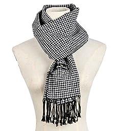 Warm Sunshine Men\'s Super Soft Cashmere Feel 100% Silk Winter Plaid Scarf/Gift Box, Black White dots