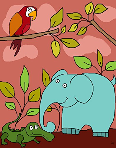 Green Leaf Art Elephant Friends Canvas Art