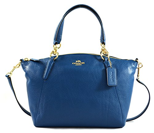 Coach Pebble Leather Sm Kelsey Satchel - Bright Mineral (Coach Purse Blue compare prices)