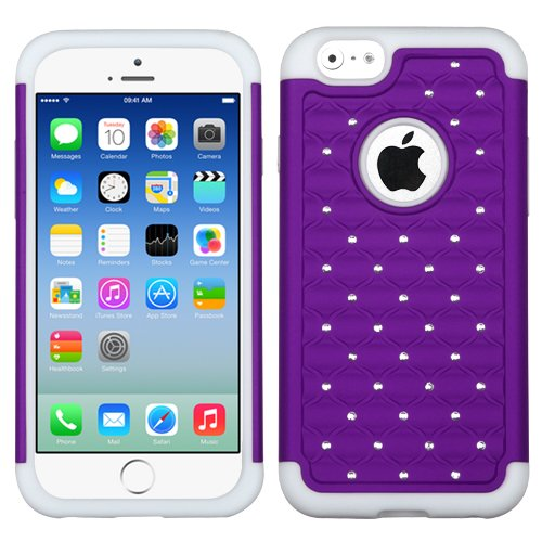 Asmyna Purple/Solid White Fullstar Protector Cover For Apple Iphone 6 (4.7-Inch) front-968884