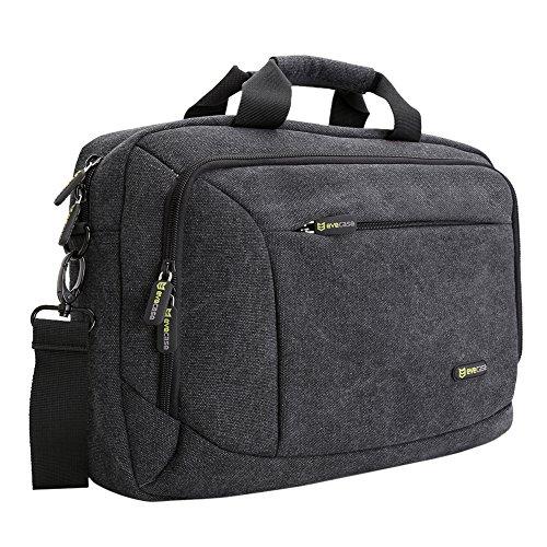 """Laptop Messenger Bag, Evecase 13.3"""" - 14"""" Canvas Messenger Bag - Dark Grey w/ Handles, Shoulder Strap, and Multiple Accessory Pockets (for 13.3 - 14 in laptops, ultrabooks, or tablet pc)"""