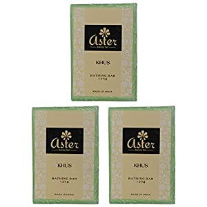 Aster Luxury Khus Premium Handmade Bathing Bar - Set of 3 (125g each)