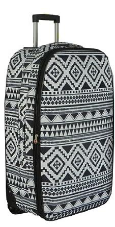 Frenzy® Large 26 Inch Expandable Lightweight Luggage Suitcase Bag (Black Aztec)