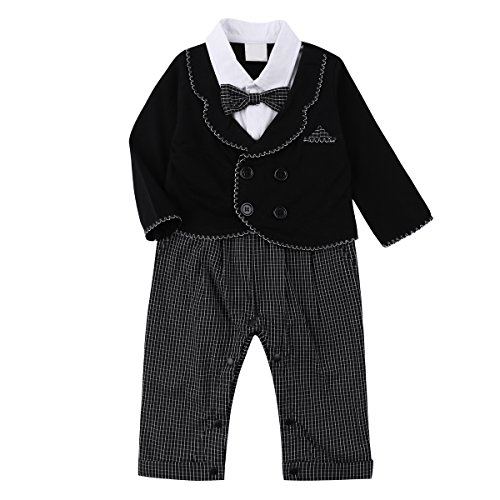 Baby Boy Tuxedo Party Suit Set 2Pcs Outfit Baby Clothing Set with Bowtie & Coat