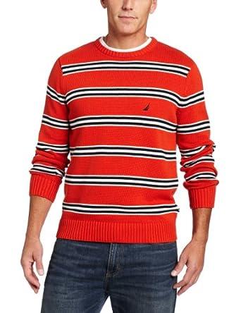 (暴跌)诺帝卡 Nautica Men's Stripe Jersey Crew Sweater 男士全棉针织衫 多色$28.98