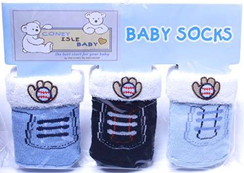 Coney Island - Multi Color Baseball Baby Boy Socks Set Of 3 Pack back-109284