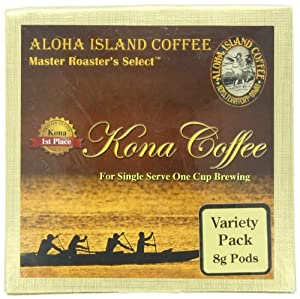 Aloha Island Coffee Variety Pack of Organic 100% Pure Kona Coffee Pods, 12 Pods, 12-Count